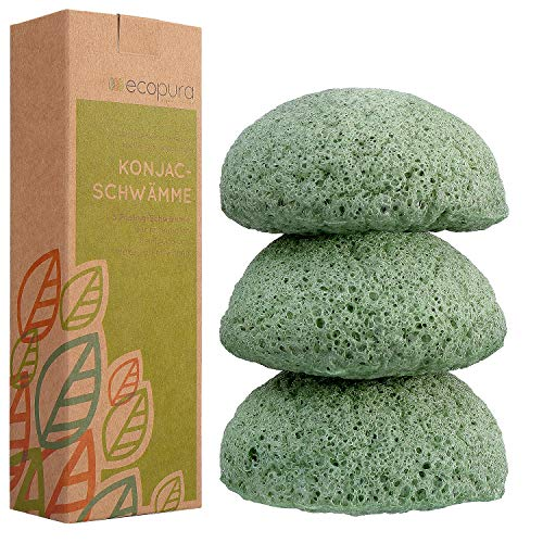 ecopura® Konjac Schwamm Set Grüner Tee (3 Stück) - Gesichtsschwamm, Gesichtsreiniger, Konjak Schwamm – Trockene, Empfindliche und Unreine Haut – 100% Natürlich, Zero Waste, Plastikfrei - grün