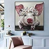 ZDFDC Moderne Wandkunst Leinwand Malerei Schwein Tier