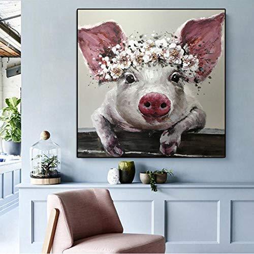 ZDFDC Moderne Wandkunst Leinwand Malerei Schwein Tier Poster Drucken Wandbilder für Wohnzimmer Office Home Decor-60x60cmx1 kein Rahmen