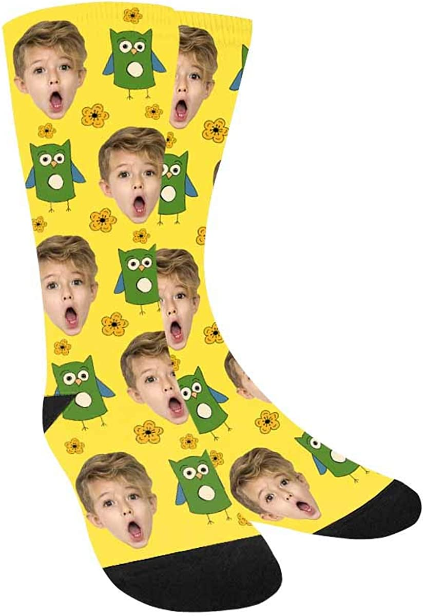 Custom Face Socks Personalized Owl and Flower Turn Your Face Pic