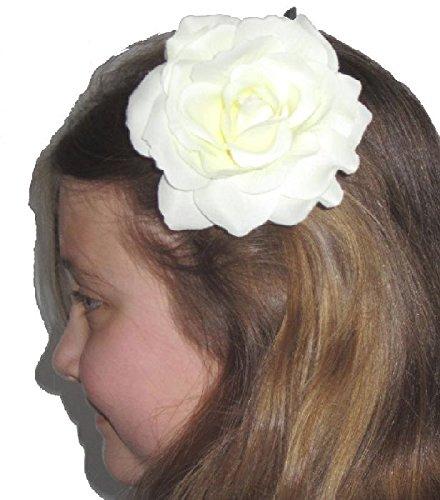 Mondial-fete - Fleur broche Carmen blanche 10 cm