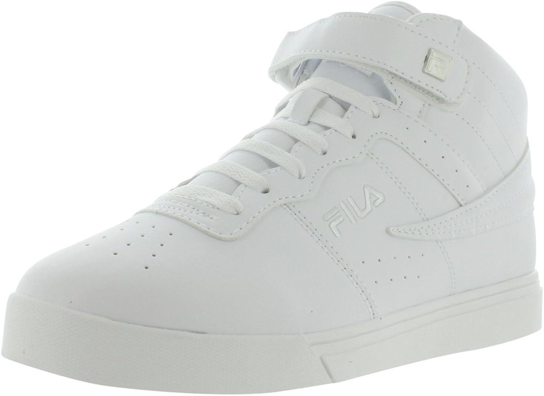 Fila Men's Vulc 13 Mid Plus Fashion Sneakers, White, Microsuede, Rubber, 9 M