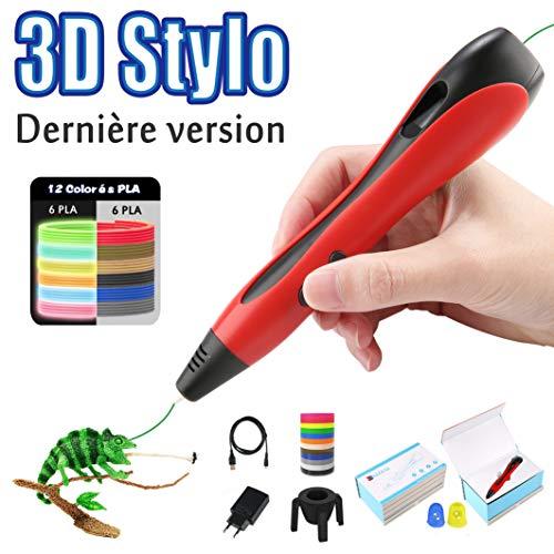 Lovebay Stylo 3D 3D Professionnel Pen Stylo d'impression 3D 【2019 Dernière Version Empêcher Le Blocage】 avec Ecran LCD+12...