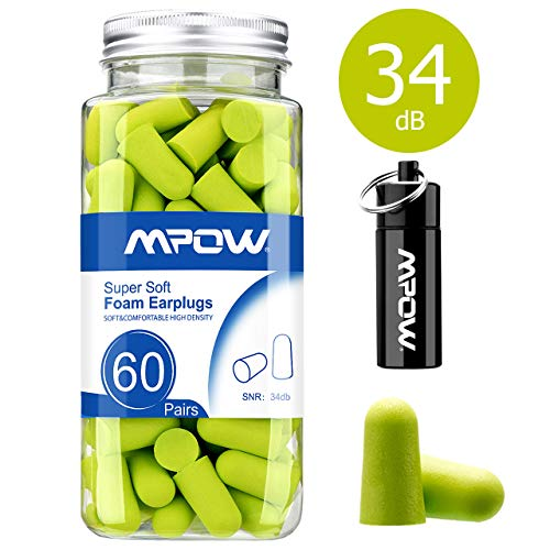 Mpow HP055A 055A, 34dB SNR Soft Foam, 60 Pairs EarPlugs with Aluminum Carry...