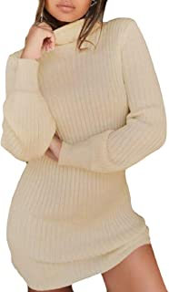 ee4cbde7a91 CBTLVSN Women High Neck Long Sleeve Stretchy Knitted Ribbed Bodycon Mini  Dress
