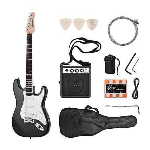 ammoon E-gitarre Electric Guitar Set Massivholz Paulownia Körper Ahorn Hals 21 Bünde 6 String mit Lautsprecher Pitch Pipe Guitar Bag Strap Picks Rechte Hand Schwarz