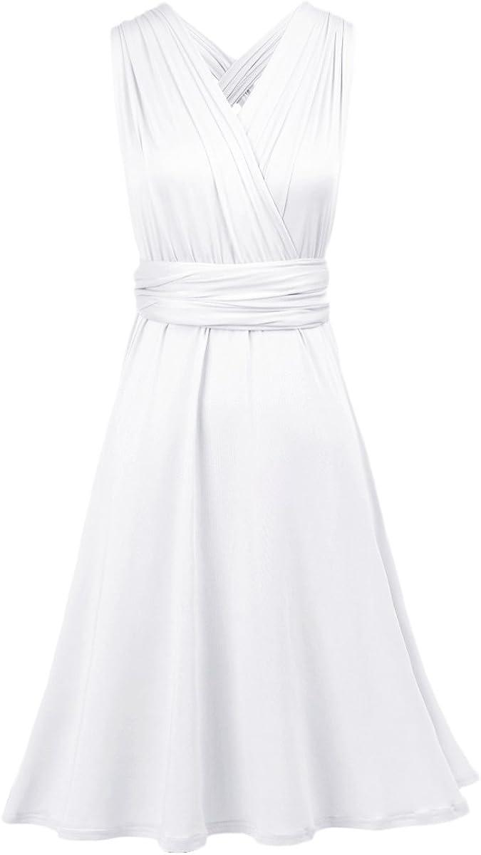 Women Convertible Multi Way Wrap Bandage High Low Dress Transformer for Bridesmaid Wedding Evening Cocktail