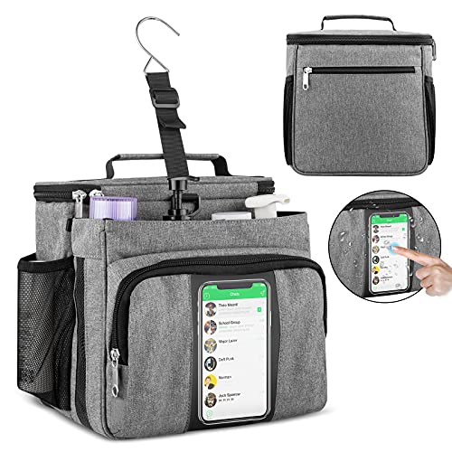 Portable Shower Caddy, Bukere Shower Caddy Tote Bag for College Dorm Travel, Separate Compartment, Large Capacity, Quick Dry Mesh Base, Hanging Toiletry Bath Bag for Student, Gym, Camp, Women Men