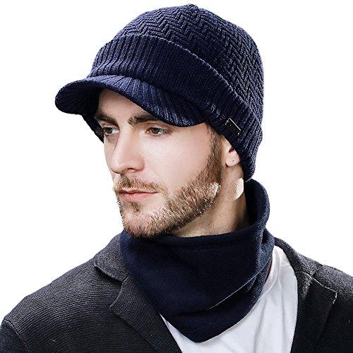 Siggi - Comhats - Conjunto de gorro y bufanda, gorro de punto con visera, de lana, para el invierno, bufanda, de forro polar, braga de cuello, para hombres Azul 69311_Azul Marino M