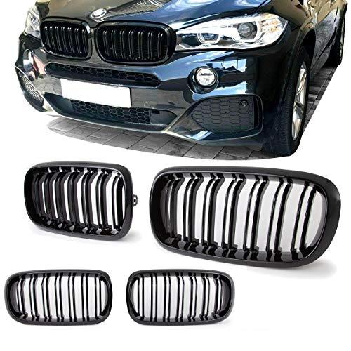 DM Autoteile 2x Kühlergrill SET Schwarz Glanz Doppelsteg passend für X5 F15 +X6 F16 13-17