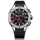 XHH Reloj de Cuarzo, Reloj para Hombre Cronógrafo de Cuarzo 3ATM Relojes Impermeables Diseño Deportivo de Negocios Reloj de Pulsera con Correa de Gel de sílice