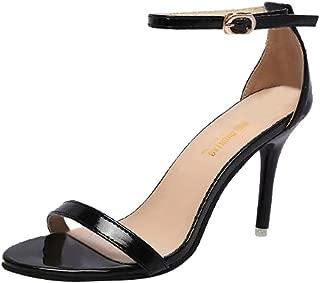 Women's Stiletto Open Toe Heel Sandal Girl Ankle Strap High Heels Sandals Working Bridal Party Shoes 5-8cm Black