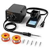 KinCam ESD Safe Soldering Iron Station with 2 Pack Solder Wire, Solder Holder and 5 Pcs Soldering Iron Tips, Anti-Static,Temperature Adjustable,Black