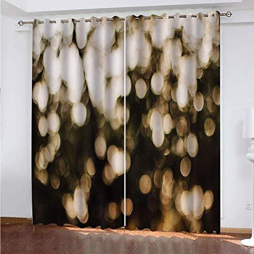 WLHRJ Cortina Opaca en Cocina el Salon dormitorios habitación Infantil 3D Impresión Digital Ojales Cortinas termica - 264x160 cm - Impresión de luz de ensueño