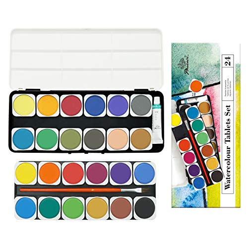 PHOENIX Watercolor Paint Set of 25 Colors with Plastic Palette & Paint Brush Watercolor Pan Set for Kids, Students, Beginners & Artists