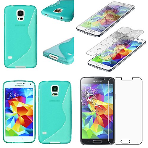"ebestStar - Funda Compatible con Samsung S5 G900F, Galaxy S5 New G903F Neo Carcasa Gel Silicona Motivo S-línea, S-Line Case Cover, Azul +Cristal Templado Protector [Aparato: 142x72.5x8.1mm 5.1""]"