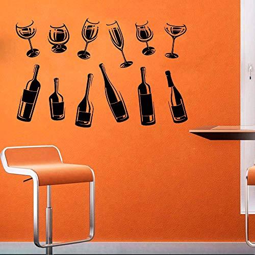 Dranken Decor Alcohol Bril Fles Voedsel Muursticker Venster Sticker Handgemaakt 2516