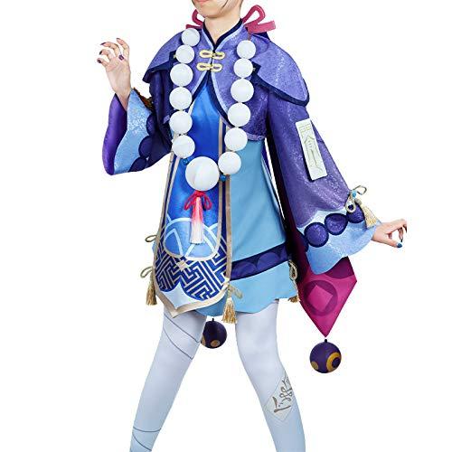原神 璃月港 七七 コスプレ衣装 帽子付き 房飾り付き 男女兼用 オーダーサイズ げんじん (男性オーダサイズ)
