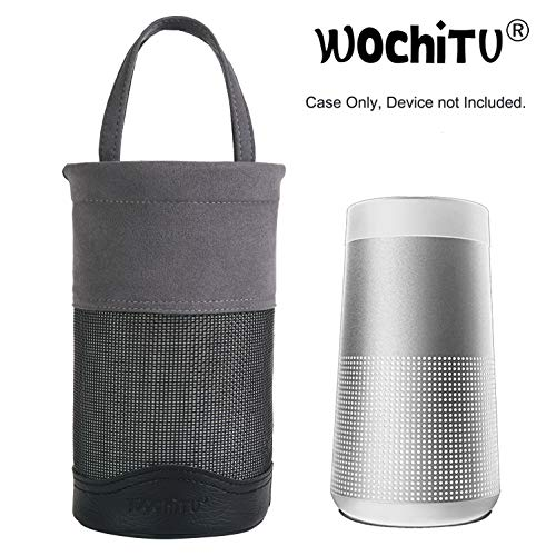 WochiTV Travel Protective Case for Bose SoundLink Revolve/Plus, PU Leather Premium Protection Carry Case Dust-Proof/Shock-Proof/Wear-Resistant, Enhance Bluetooth Speaker Life – Black