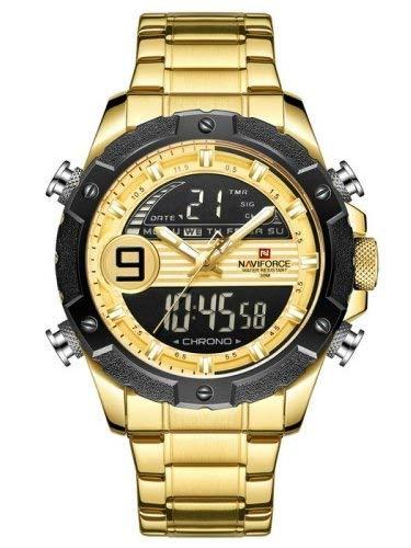 Naviforce - NF9146S - Orologio da polso al quarzo digitale analogico Dual Time da uomo, cinturino in metallo, impermeabile (Cinturino: Oro/Indice: Oro, Argento)