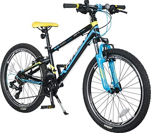KRON XC-100 Hardtail Alu Jugendfahrrad Kinderfahrrad 24 Zoll ab 9-14 Jahre | 21 Gang Shimano Schaltung, V-Bremse, Federgabel, 13 Zoll Rahmen | Kinder Mountainbike Schwarz Blau Gelb