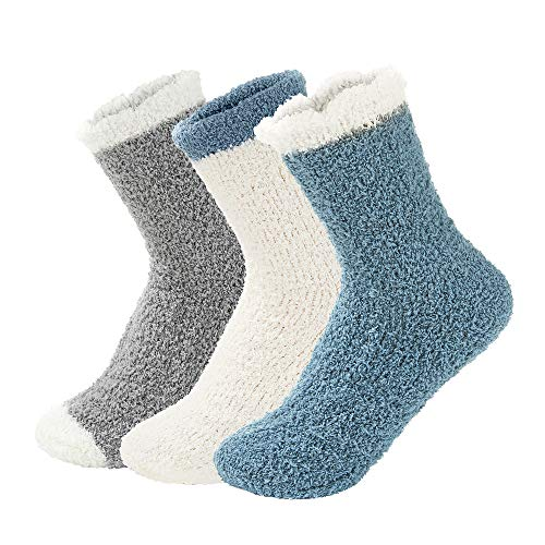 Century Star Women Warm Super Soft Slipper Socks Fuzzy Fluffy Cozy 3-8 Pairs Home Socks (01)3 Pairs Solid-Color 04