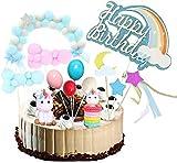 Licorne Cake Topper Kit Cloud Balloon Joyeux Anniversaire Décoration De Gâteau De Bannière pour Garçons Filles Enfants Anniversaire Pack de 13
