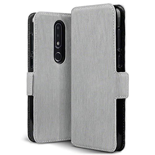 TERRAPIN, Kompatibel mit Nokia 6.1 Plus Hülle, Leder Tasche Case Hülle im Bookstyle mit Standfunktion Kartenfächer - Grau