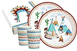 Set da 52 pezzi per feste indiani Tipi Tepee & Tomahawk per 16 persone (piatti, bicchieri, tovaglioli)
