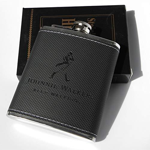 Olla de vino de acero inoxidable frascos de la PU de la cadera de superficie de piel matraz de whisky porttil de viaje botella de alcohol de la botella de licor Pequeo mini botella del metal (Color: