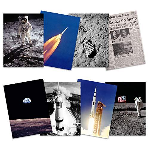 Wee Blue Coo Apollo 11 Astronaut Aldrin Armstrong 50th Anniversary Moon Landing Saturn V Rocket Wall Art Print Poster Home Decor Premium Pack of 8 Mond Rakete Wand Zuhause Deko