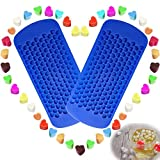 150 Grids Small Silicone Ice Cube Trays Mini Heart Shaped Candy Chocolate Molds, VIWIEU Sonic Ice Mold Maker 2 Pack Chill Your Drink Faster,Tiny Ice Works Great for Blender
