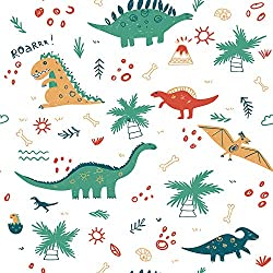 4. AMAZING WALL Peel and Stick Cartoon Dinosaur Wallpaper