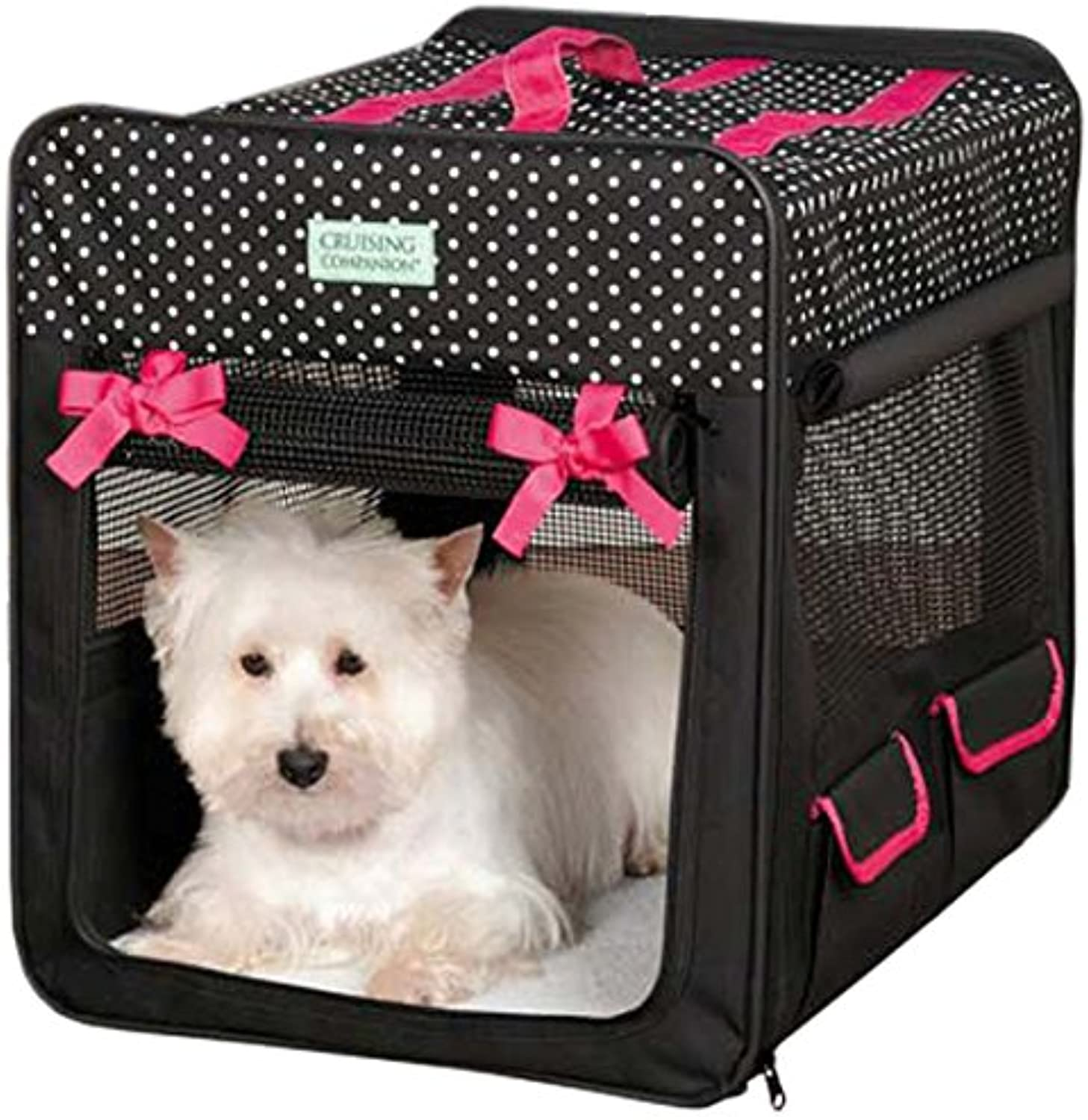 Cruising Companion Polka Dot Collapsible Dog Crate, Small, Black