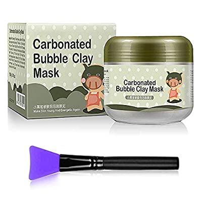 MS.DEAR Carbonated Bubble Clay Mask Bubbles Mud Mask - 3.52 oz. 100% Natural, Moisturize Deep Cleansing Face Mask for All Skin Types + Silicone Mask Brush (Mask + Brush)