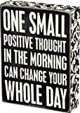 CLASSIC BOX SIGN STYLE: Signature Primitives by Kathy wood box sign with sentiment and distressed detailing STURDY CONSTRUCTION: Measures 6 x 8-inches; designed to freely stand on its own or hang on a wall SENTIMENT READS: One Small Positive Thought ...
