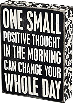 Primitives by Kathy 22675 Floral Trimmed Box Sign 6  x 8  Positive Thought