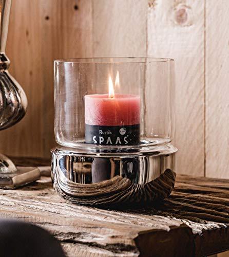 Windlicht aus Edelstahl und Glas, Kerzenhalter in Silber, Windlichtsäule für Kerzen, Laterne Metall - 15x15x17 cm