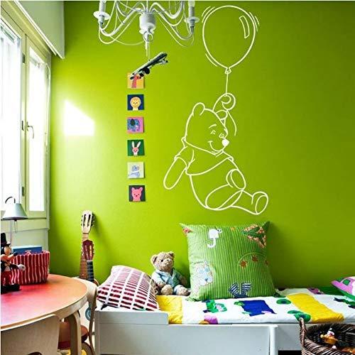 Winnie The Pooh met ballon muurstickers voor kinderen jongens meisjes slaapkamer baby kinderkamer muurtattoos cartoon decoratie muurschildering