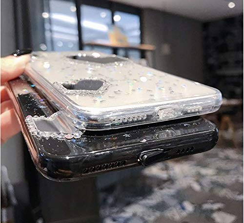 Hnzxy Handyhülle Kompatibel mit Huawei Nova 3 Hülle Spiegel Glänzend Glitzer Kristall Strass Diamant Liebe TPU Silikon Handy Hülle Durchsichtige Schutzhülle Case Tasche Etui für Huawei Nova 3, Schwarz - 4