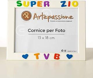 Cornici per foto in legno con la scritta Super Zio TVB e decorata con cuoricini, da appoggiare o appendere, misura 13x18 c...