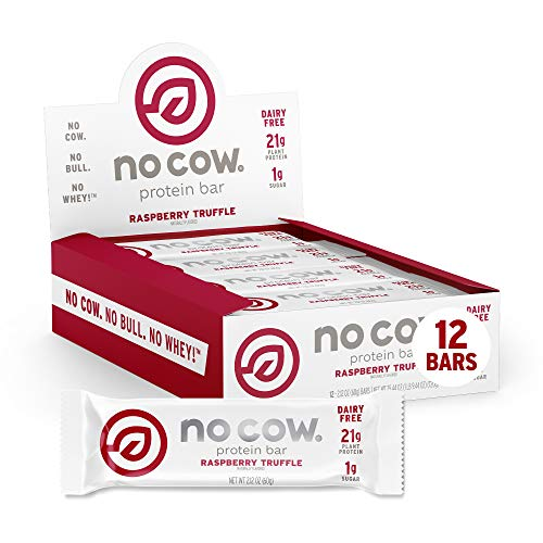 No Cow Protein Bars, Raspberry Truffle, 21g Plant Based Vegan Protein, Keto Friendly, Low Sugar, Low Carb, Low Calorie, Gluten Free, Naturally Sweetened, Dairy Free, Non GMO, Kosher, 12 Pack