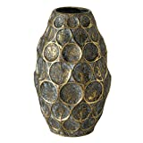WHW Whole House Worlds Tooled Antique Gold Finished Metal Vase, Sculptural Ring Pattern Details, Handcrafted, Blue and Black Patina, 13 Inches Tall, 1.5 lbs (20.0 H cm) Table Top Home Decor