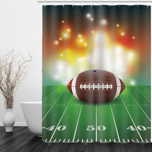 Duschvorhang Badewanne Vorhang Anti-Schimmel Duschvorhang aus Polyester Wasserabweisend Shower Curtain Anti-Bakteriell Waschbar mit 12 Duschvorhangringen Fußball 180x200 cm
