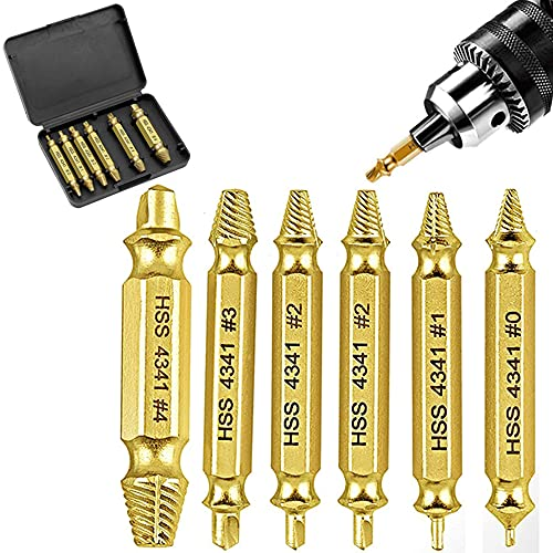 Double-Head Screw Extractor Set with 6 PCS Drill Bits, Damaged Screw Extractor and Stripped Screw Extractor Removal Tool, from H.S.S 4341, for Broken Bolt, High-Speed Steel Easy Out Screw Remover