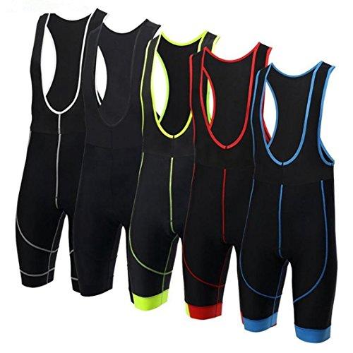 Pantaloni da ciclismo per uomo/donna, con bretelle, imbottiti, 3D, abbigliamento per ciclismo, mountain bike, colore rosso, taglia XXXL