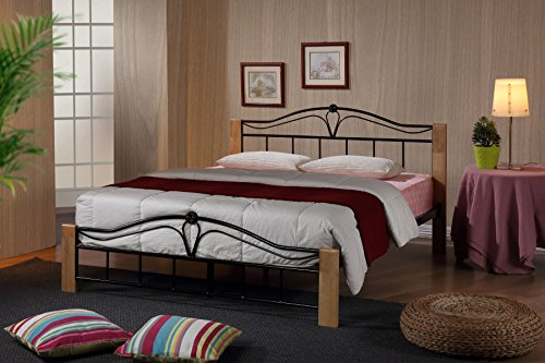 Thiago 4FT6 Double Wooden Beech and Black Metal Bed Frame Modern Bedroom Furniture