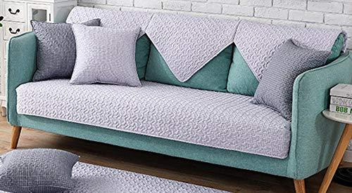 kinfuki Cubre Sofas Impermeable Protector Acolchado,Funda de sofá enrejada Resistente a Las Manchas con 2 Fundas de Almohada, Gris Claro 90 * 120 cm