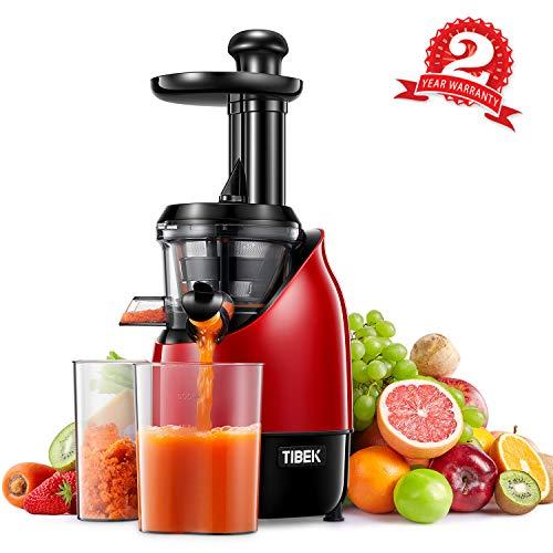Estrattore di Succo a Freddo Professionale, TIBEK Estrattore Frutta Verdura | 200W Slow Juicer con Motore Silenzioso e Funzione Inversa | Pulizia 2 Minuti | 2 Contenitori | Senza BPA