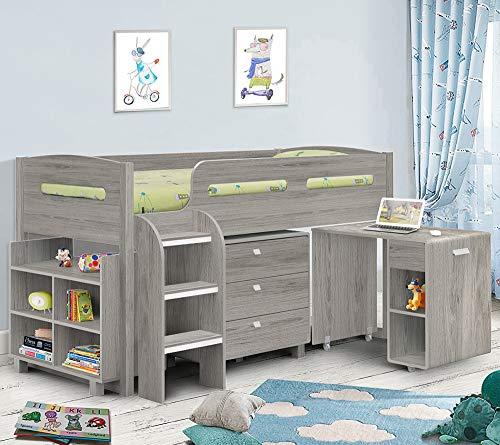 Happy Beds Kimbo Sleep Station Children Kids Cabin Bunk Bed Storage Drawers 3' Single 90 x 190 cm (3FT - Pocket Sprung Mattress, Grey Oak)